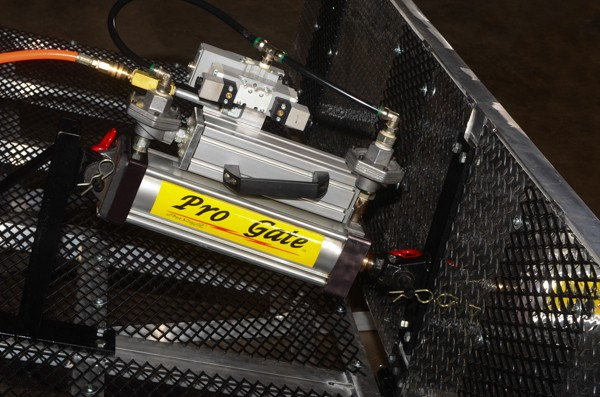 Pro Gate 12-Volt Air Ram Installed on a BMX Starting Gate