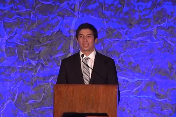 Tyler Whitfiled accepting the National BMX Hall Of Fame Scholarship
