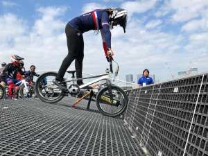 Manon Valentino on the gate at the Tokyo 2020 Test Event